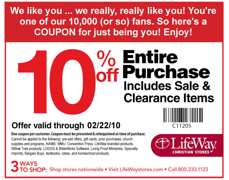 picture regarding Lifeway Coupon Printable known as Lifeway Christian Bookstore: Printable 10% off Coupon for