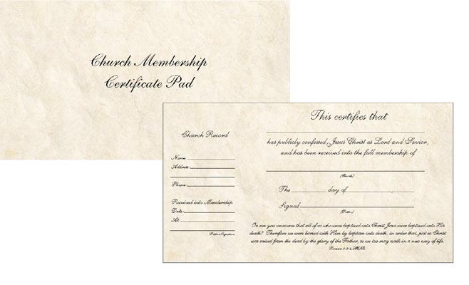 The New Church Membership Certificate Pad    Broadman Church Supplies