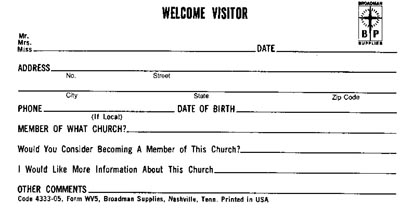 Visitor's card, form WV-5 || Broadman Church Supplies