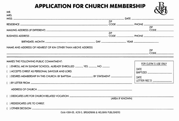 Application for church membership form acm 5 broadman church